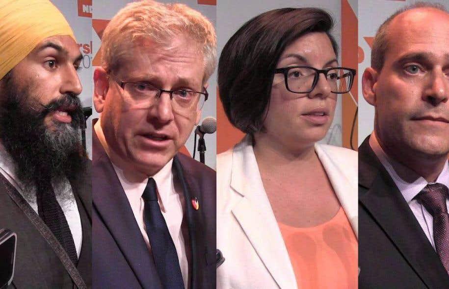 Jagmeet Singh,Charlie Angus, Niki Ashton etGuy Caron (de gauche à droite).