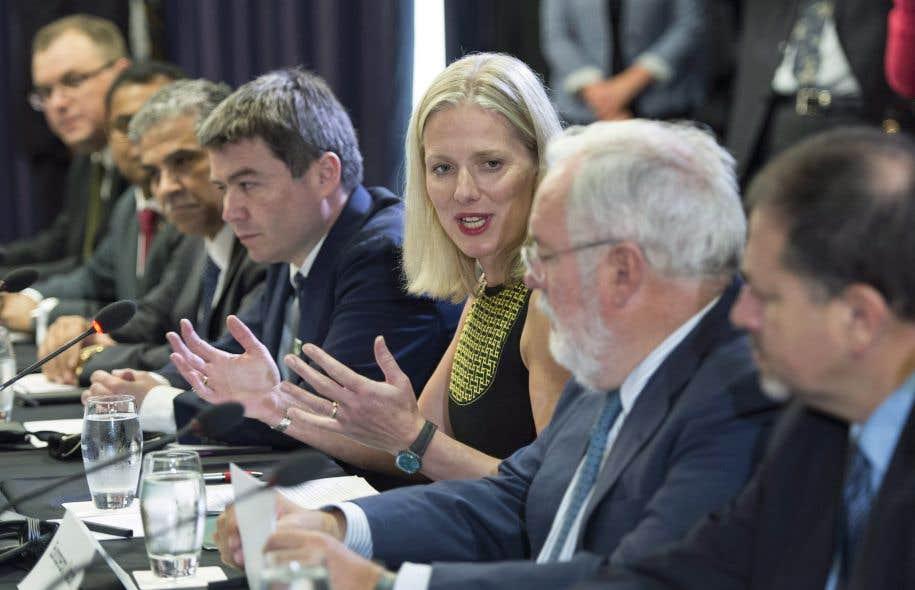 La ministre du Changement climatique, Catherine McKenna, lors d'une réunion sur les changements climatiques le vendredi 15 septembre à Montréal