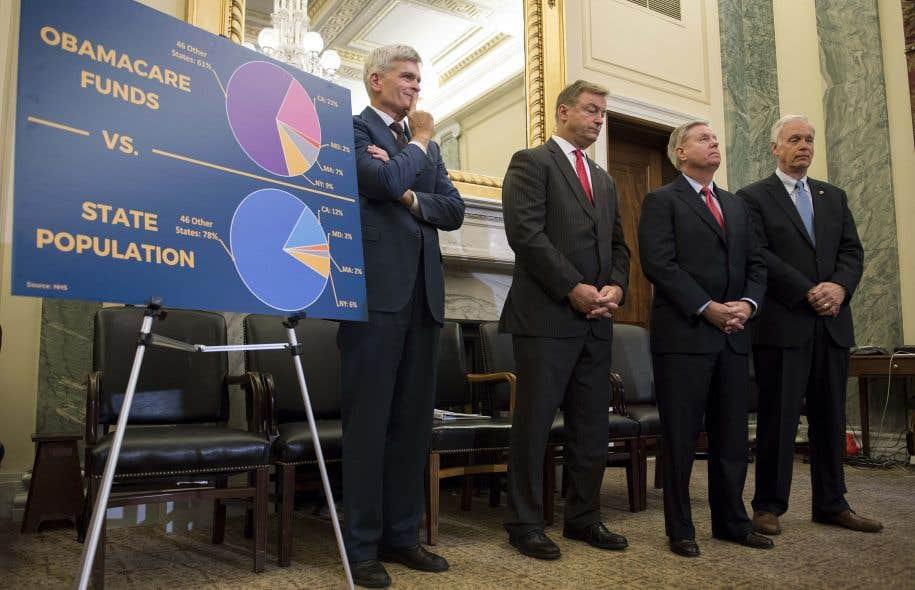 Les sénateurs Lindsey Graham, Bill Cassidy, Dean Heller et Ron Johnson