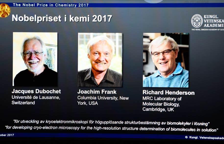 <p>Les récipiendaires sont Jacques Dubochet, de Suisse, Joachim Frank, des États-Unis, et Richard Henderson, du Royaume-Uni.</p>