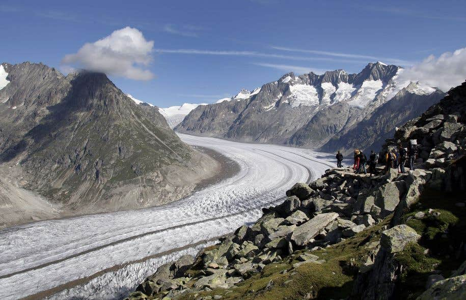 Le glacier d'Aletsch, dans les Alpes suisses, est menacé par l'augmentation de la température.