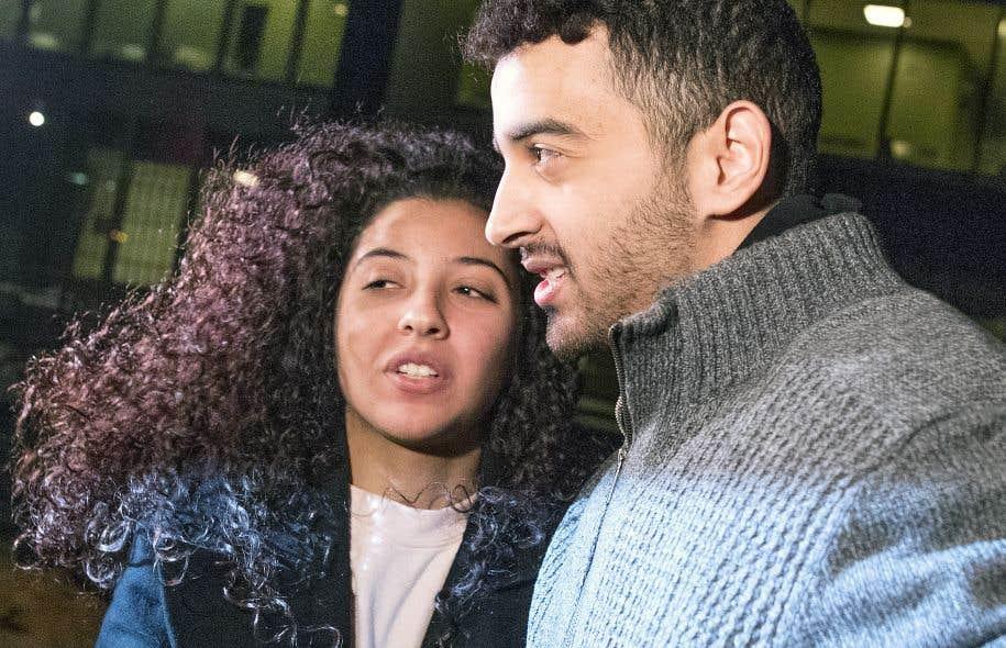 Sabrine Djermane et El Mahdi Jamali ont quitté le palais de justice de Montréal, mardi soir.