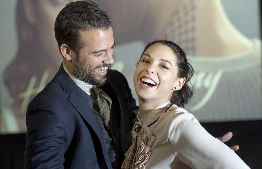 Les comédiens Thomas Beaudoin et Mylène St-Sauveur sur le tapis rouge de la série «Hubert et Fanny», en décembre dernier