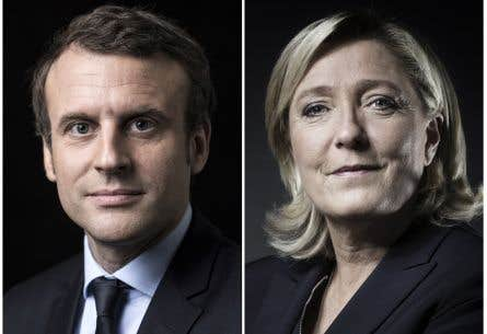 Le centriste Emmanuel Macron et la candidate d'extrême droite Marine Le Pen sont en tête pour le second tour de la présidentielle française, selon les premières projections officielles.