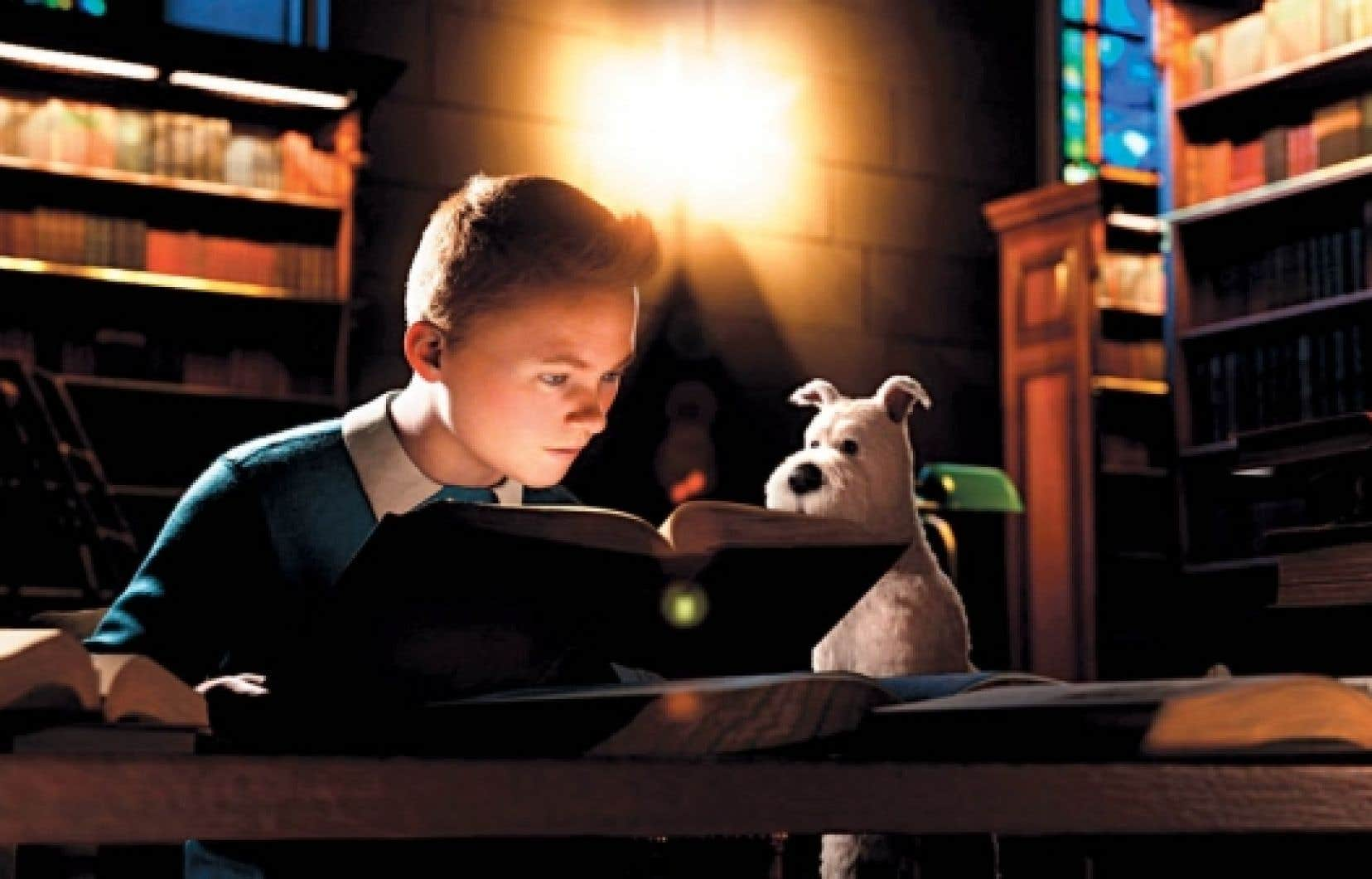 Une scène du film de Steven Spielberg, The Secret of the Unicorn, avec Tintin et Milou<br />