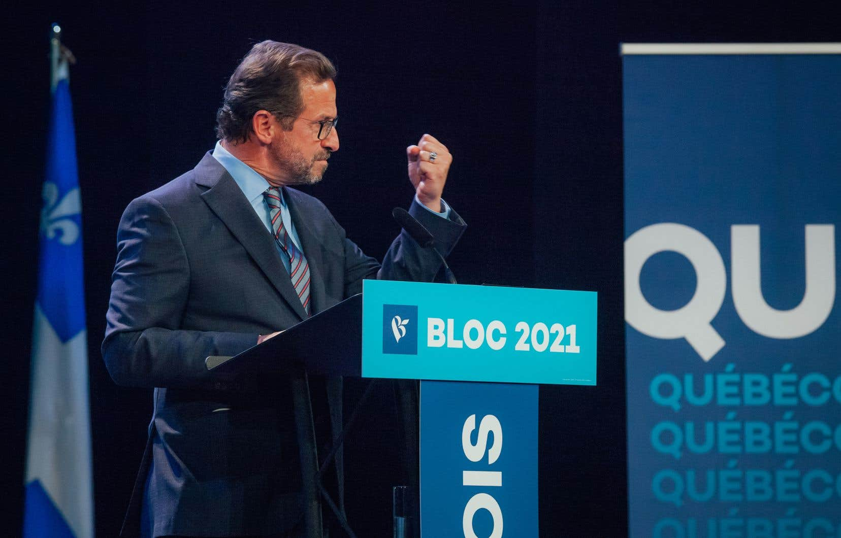 Le chec du Bloc québécois, Yves-François Blanchet, lors de son discours de fin de soirée