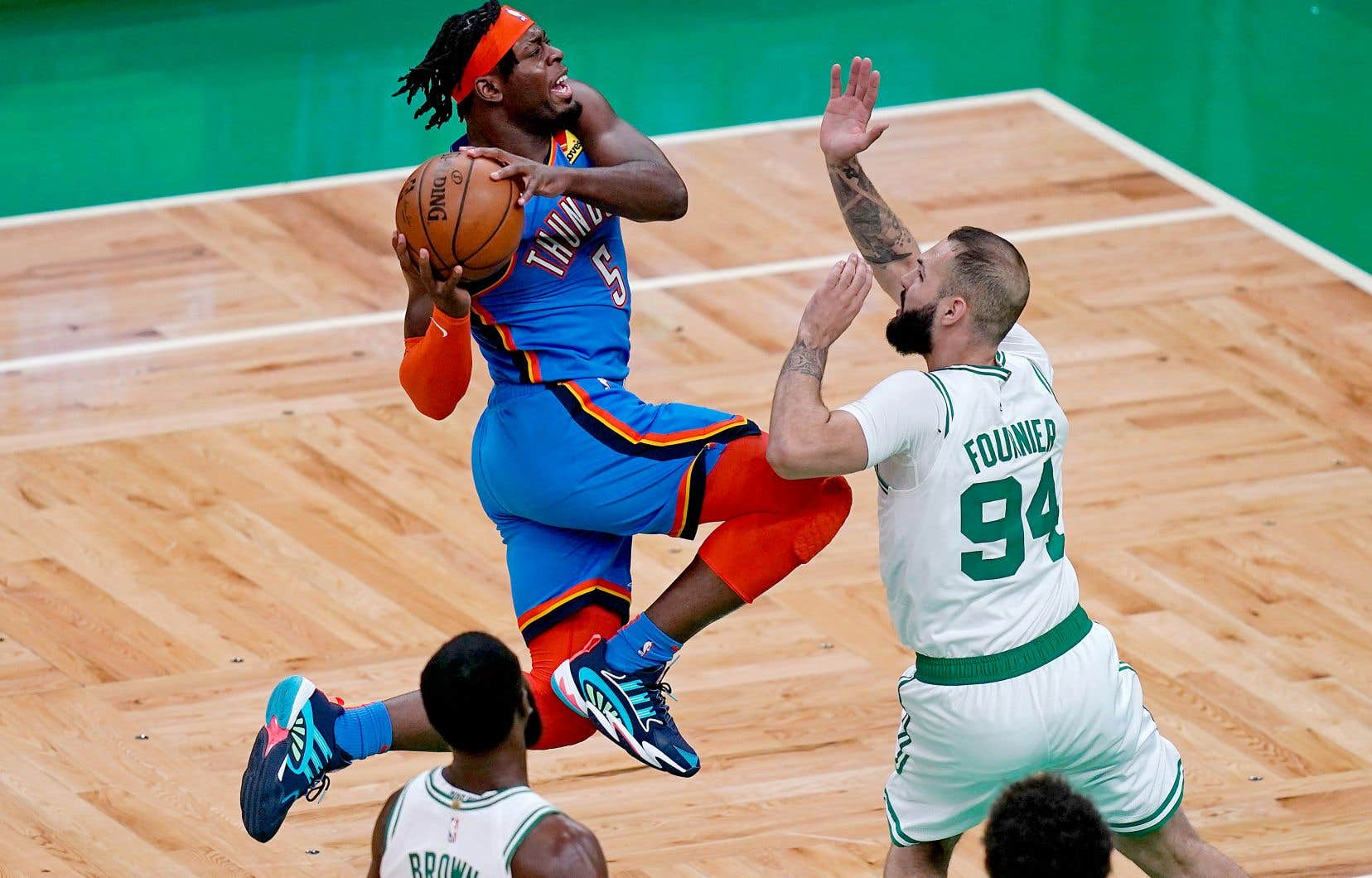 Luguentz Dort lors d'un match contre les Celtics de Boston en avril dernier