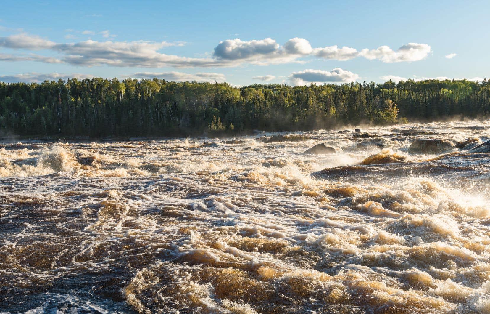 Les rapides de la Chute à l'Ours, à Normandin, où des scènes du film ont été tournées