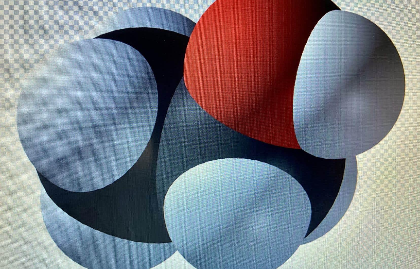 Non, ce n'est pas une excroissance virale du coronavirus mais la configuration moléculaire de l'éthanol, soit, CH3-CH2OH!