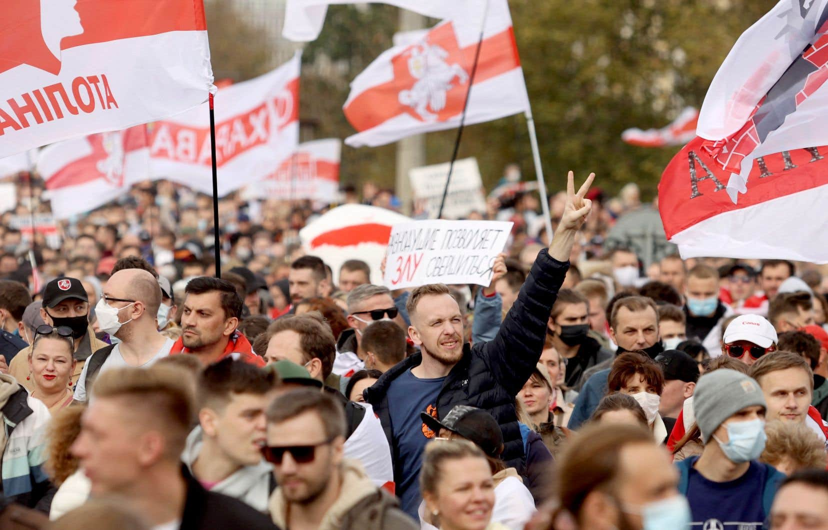 Des manifestants pro-démocratie à Minsk, en octobre dernier