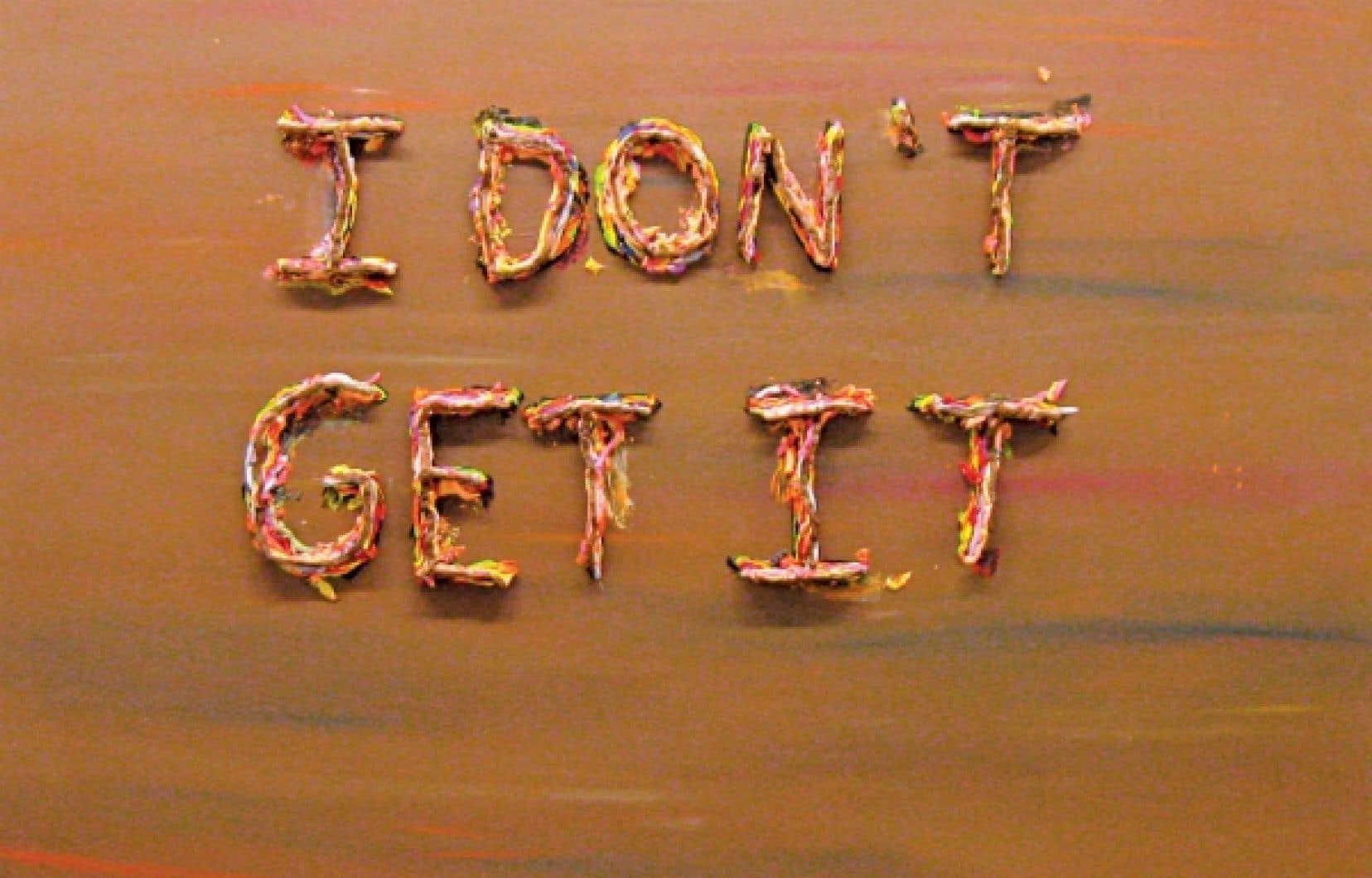 Mathieu Lefevre, I Don&rsquo;t Get It (2008; 48&rdquo; x 60&rsquo;&rsquo;, huile sur toile)<br />