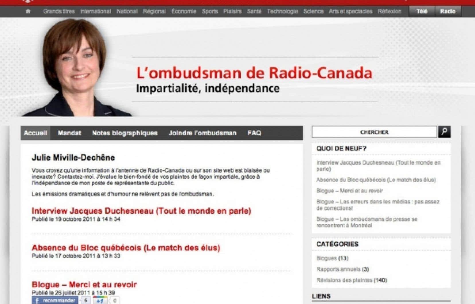 La derni&egrave;re ombudsman du service fran&ccedil;ais, l&rsquo;ex-journaliste Julie Miville-Dech&ecirc;ne, a quitt&eacute; le poste cet &eacute;t&eacute;, apr&egrave;s un quinquennat. Elle dirige maintenant le Conseil du statut de la femme.<br />