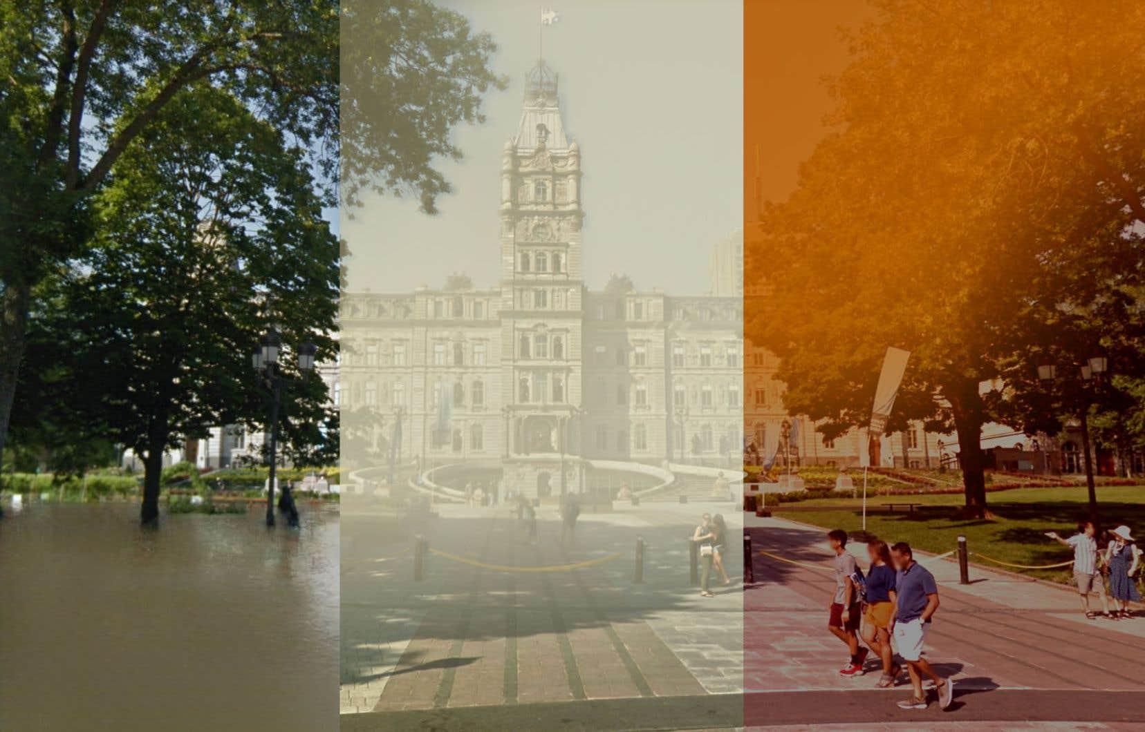 L'équipe du chercheur Yoshua Bengio propose de visualiser des phénomènes climatiques extrêmes, dont des inondations (à gauche), du smog (au centre) ou des feux de forêt (à droite), comme ici devant l'Assemblée nationale du Québec. L'outil applique un filtre sur des images de lieux familiers principalement tirées de Google Street View. S'il est peu probable qu'on ait bientôt les pieds dans l'eau sur la colline Parlementaire, cela sert surtout «d'exercice empathique» devant les bouleversements climatiques, souligne M. Bengio.