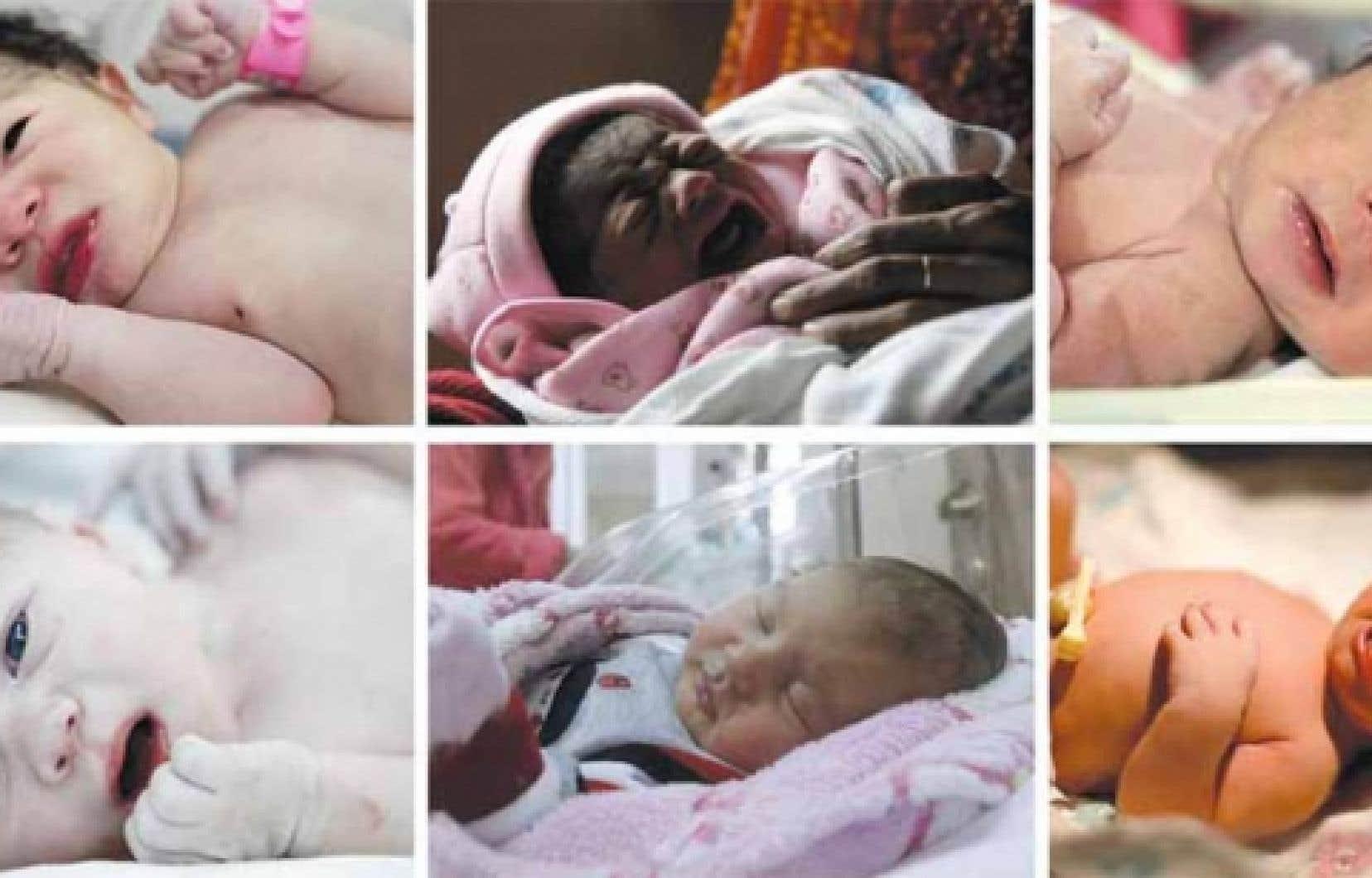 Ces nouveau-nés du Venezuela, de l'Inde, des Philippines, de la Russie, de la Géorgie et des États-Unis (de gauche à droite, de haut en bas) sont au nombre du demi-million de bébés nés hier.