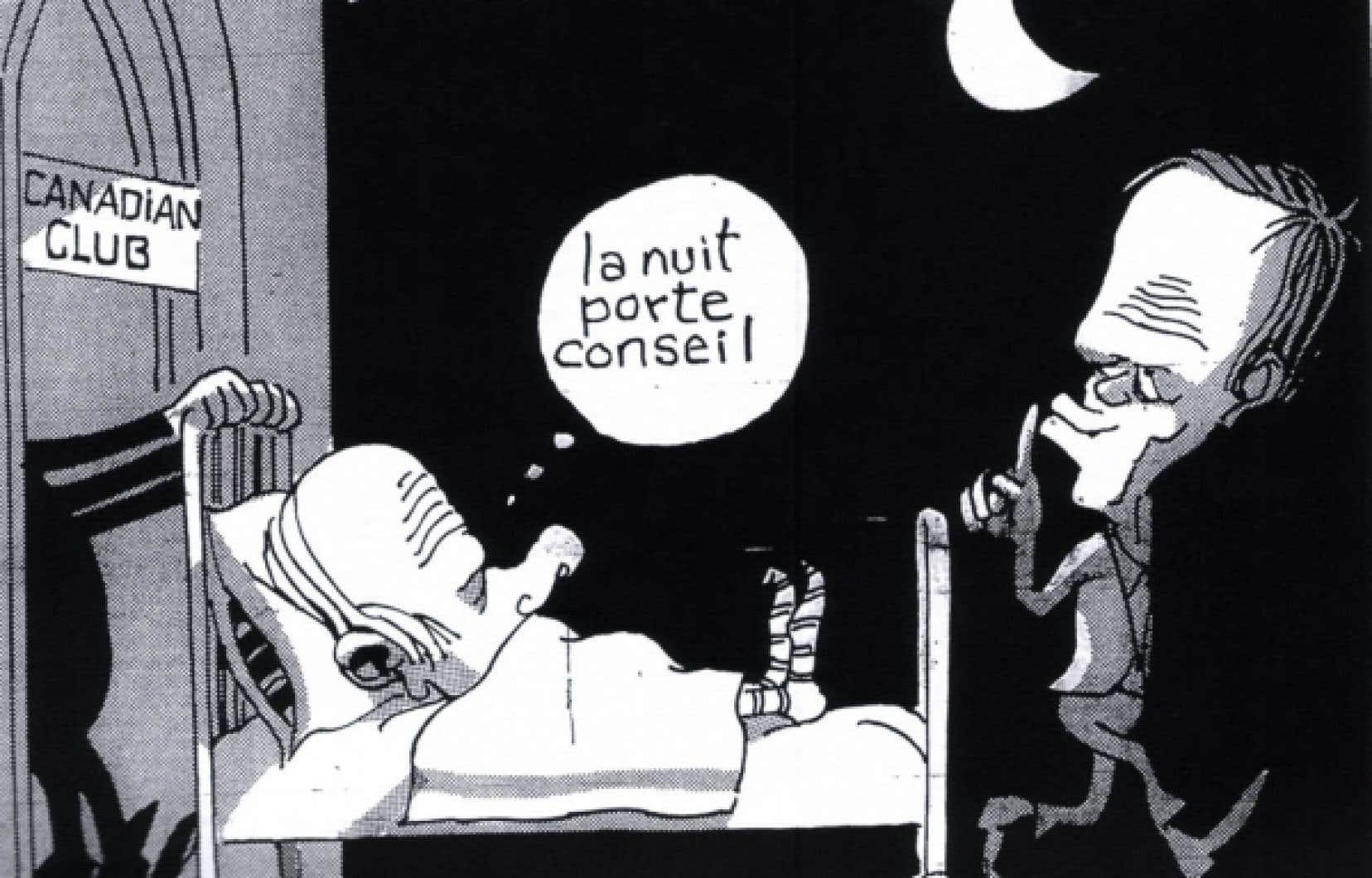 Cette caricature de Berthio a &eacute;t&eacute; publi&eacute;e en une du Devoir le 7 novembre 1981. Contrairement &agrave; un mythe r&eacute;pandu, il n&rsquo;y avait aucune mention de l&rsquo;expression &laquo;nuit des longs couteaux&raquo; dans le texte du journaliste Michel Vastel, du Devoir, ce jour-l&agrave;.<br />