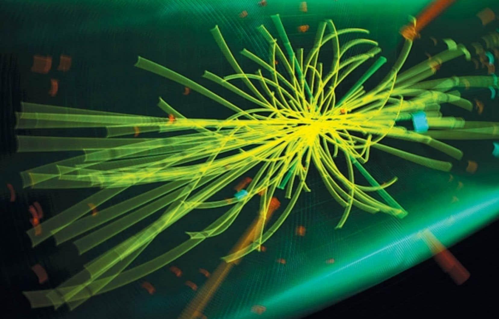 Image montrant une collision de particules provoquée dans le Large Hadron Collider de l'Organisation européenne pour la recherche nucléaire (CERN).<br />