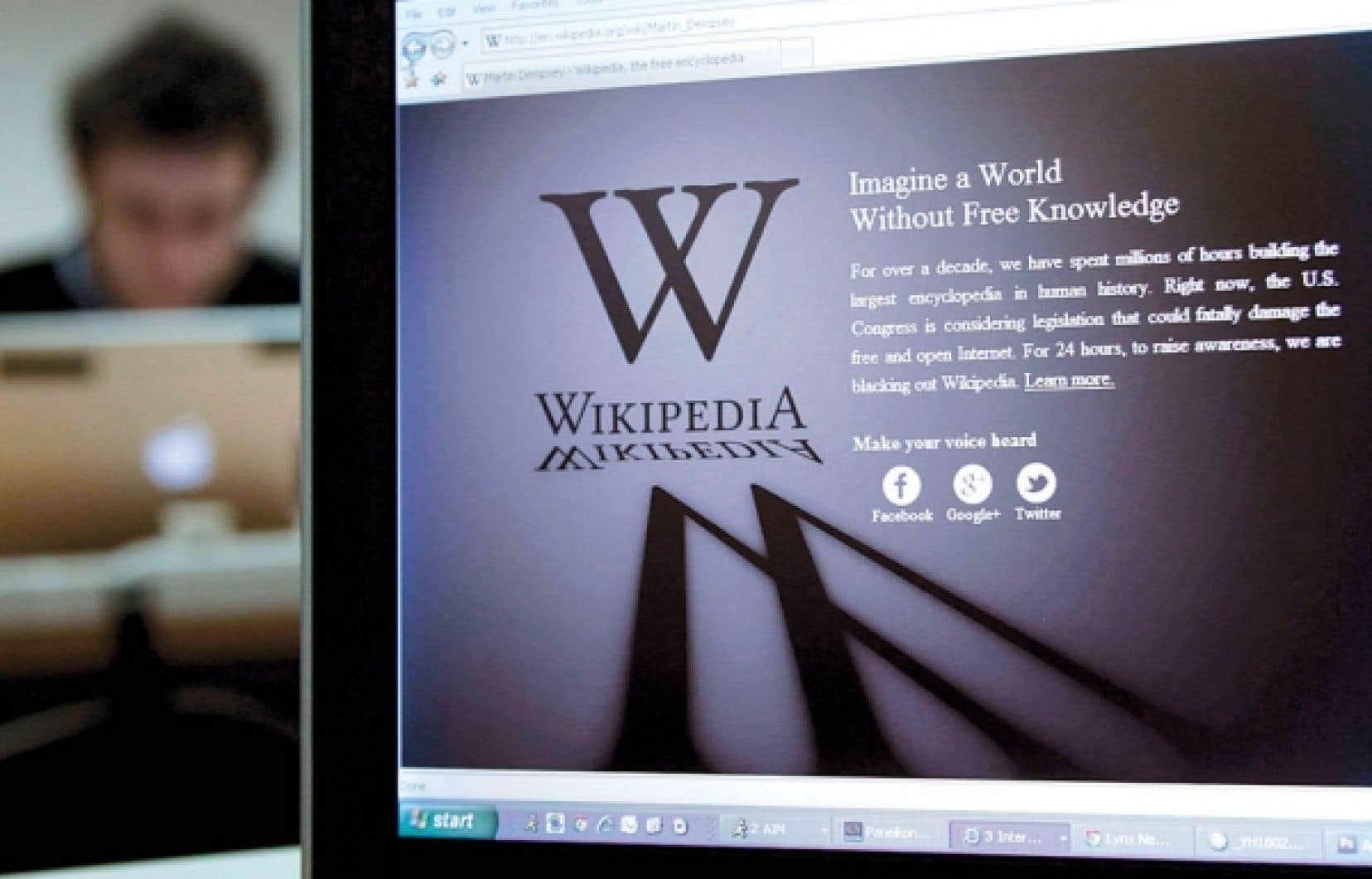 La page de présentation de Wikipédia, hier, à Bruxelles.<br />