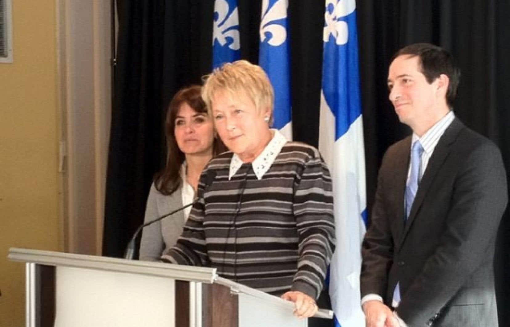 Pauline Marois cet après-midi au caucus péquiste. <br />