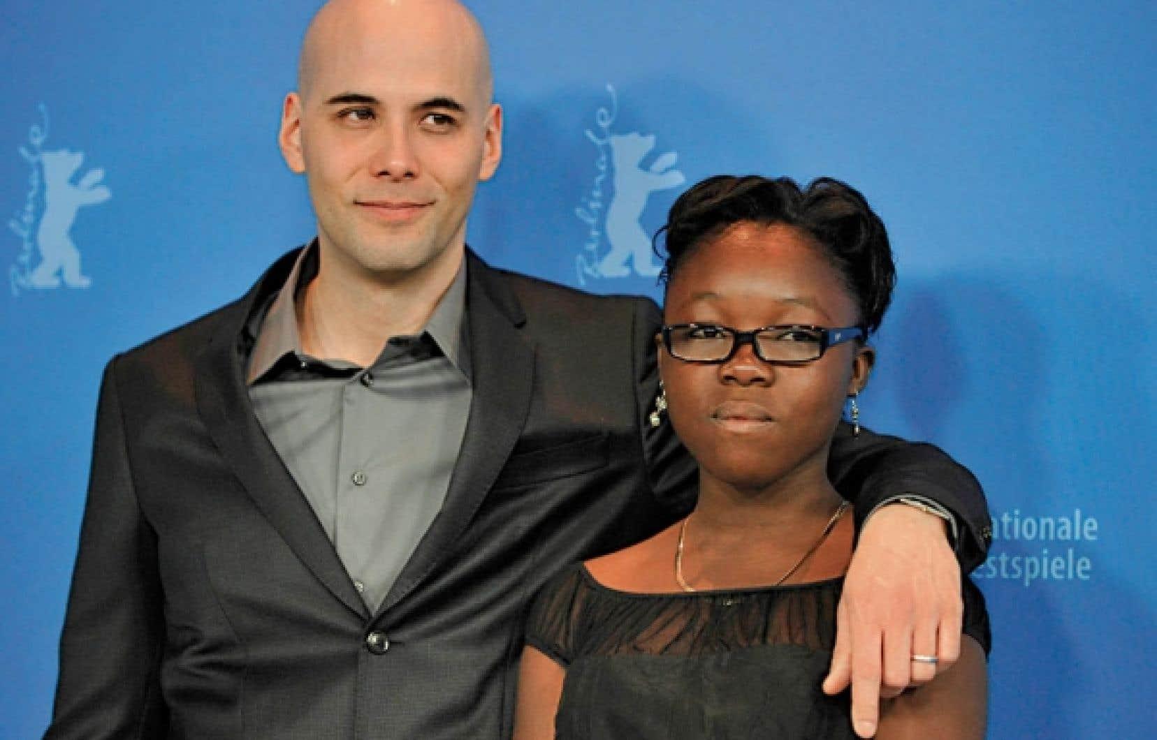 Le cinéaste Kim Nguyen et la vedette du film Rebelle, Rachel Mwanza, qui a reçu des applaudissements chaleureux de la foule.<br />