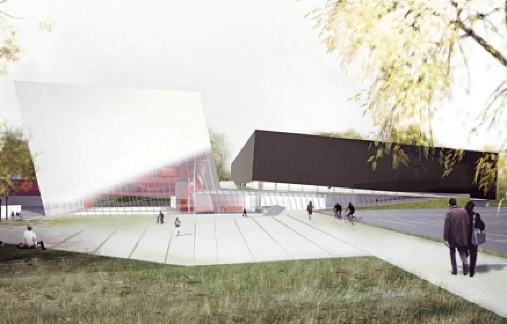 Concours pour le Complexe sportif de l'arrondissement de Saint-Laurent, Saucier + Perrotte architectes. Perspective du bâtiment vue depuis le boulevard Thimens.