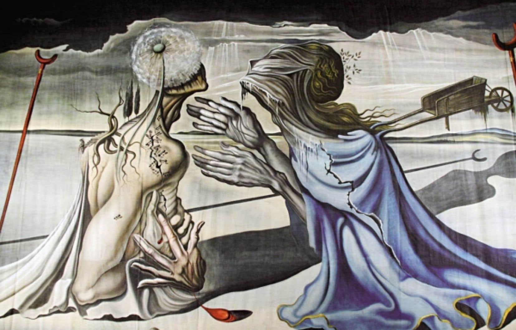 Intitulé Tristan Fou, l'immense tulle de scène a été peint par Dalí dans les années 1940 pour le ballet Tristan et Yseult.<br />