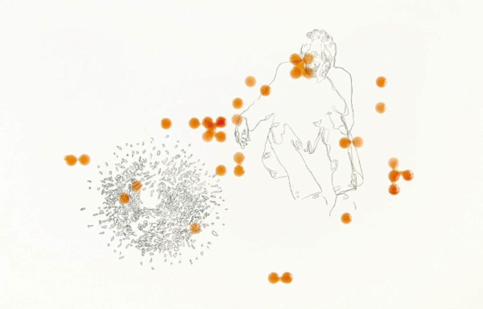 Patrice Duhamel, Sans titre, vers 2003-2004, tracé au carbone, autocollant et résine sur papier, 38 x 50,5 cm<br />