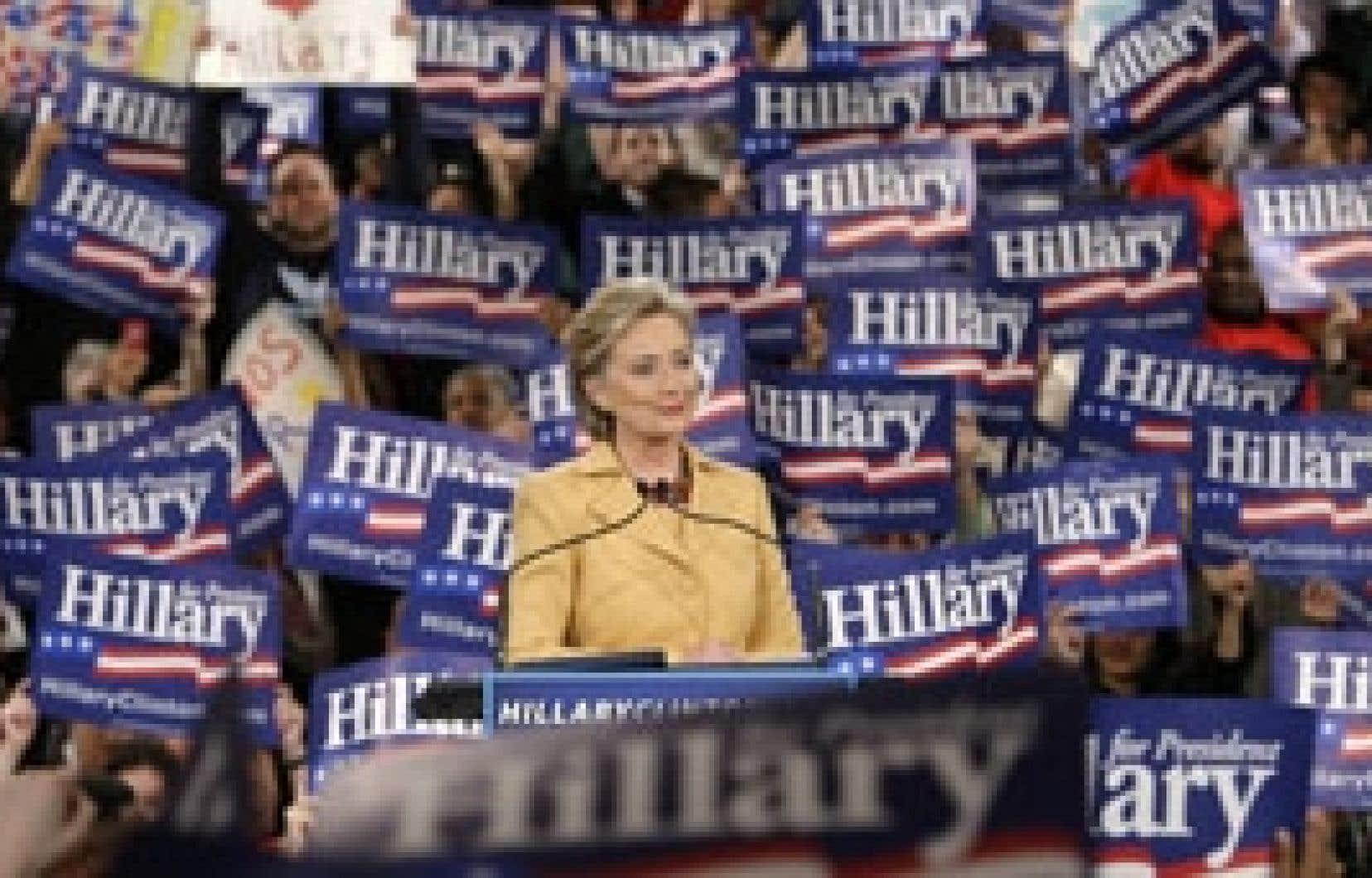 La candidate à l'investiture démocrate Hillary Clinton s'est adressée à ses troupes hier soir lors d'un rassemblement du «super mardi» à New York.