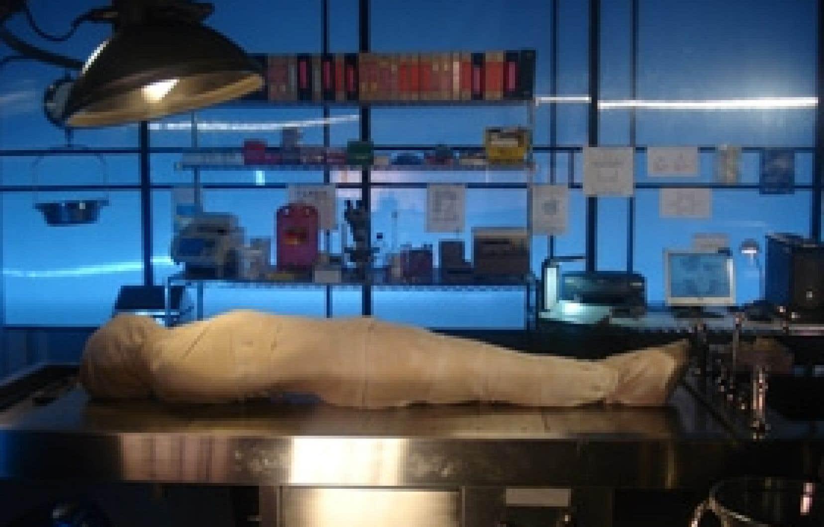 Photos source imax TELUS centre des sciences de Montréal Pour la première fois depuis l'époque des pharaons, un corps humain est momifié afin qu'on puisse ensuite l'utiliser à des fins d'analyses génétiques.