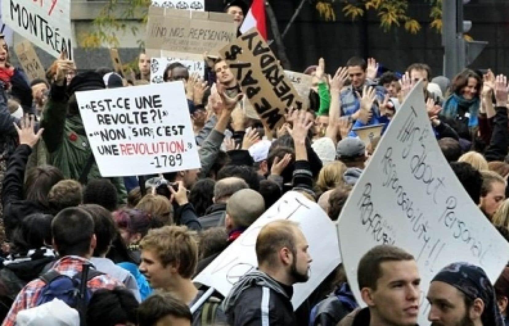 Manifestation à Montréal en octobre dernier, dans le cadre de «Occupons Montréal».