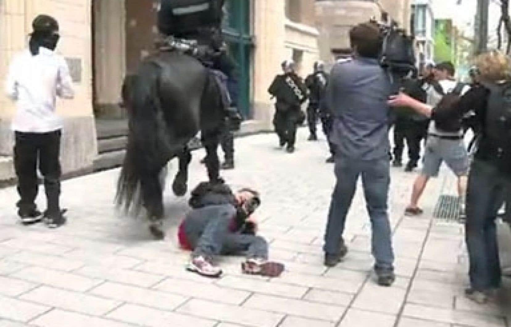 Un cheval de l'escouade antiémeute du SPVM fait chuter Jacques Nadeau, photographe du Devoir.