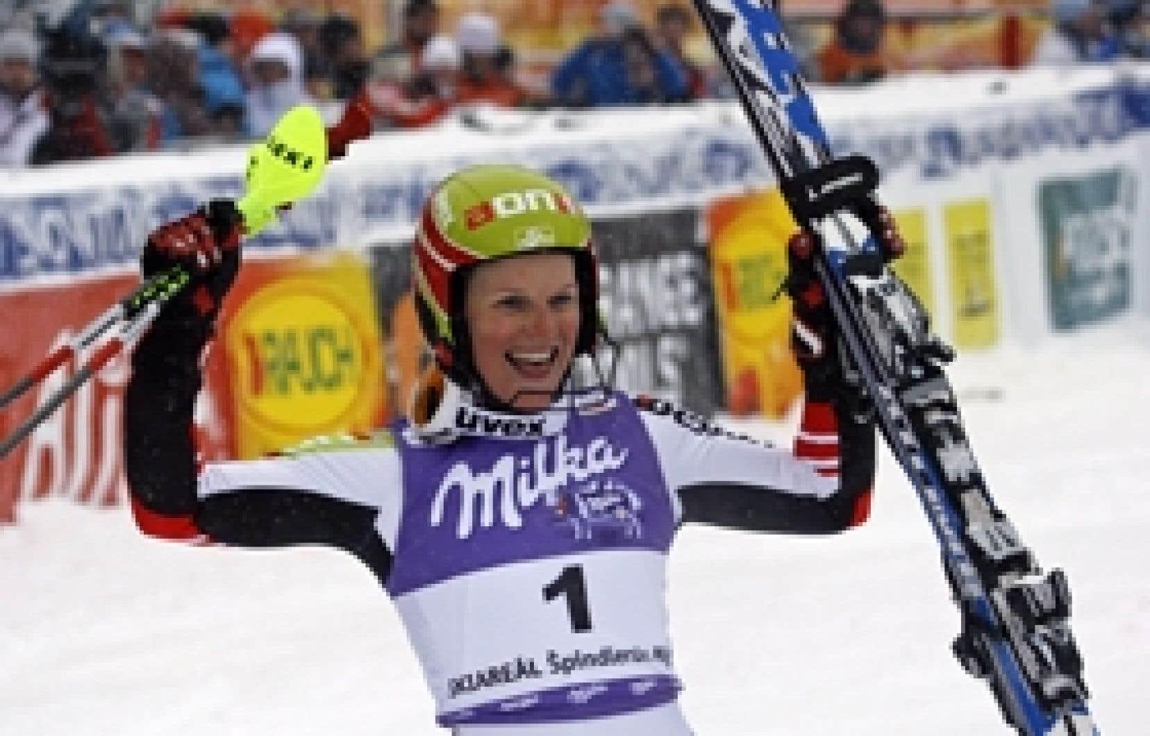 Marlies Schild, qui était deuxième après la première manche, a signé le meilleur chrono sur le deuxième tracé.