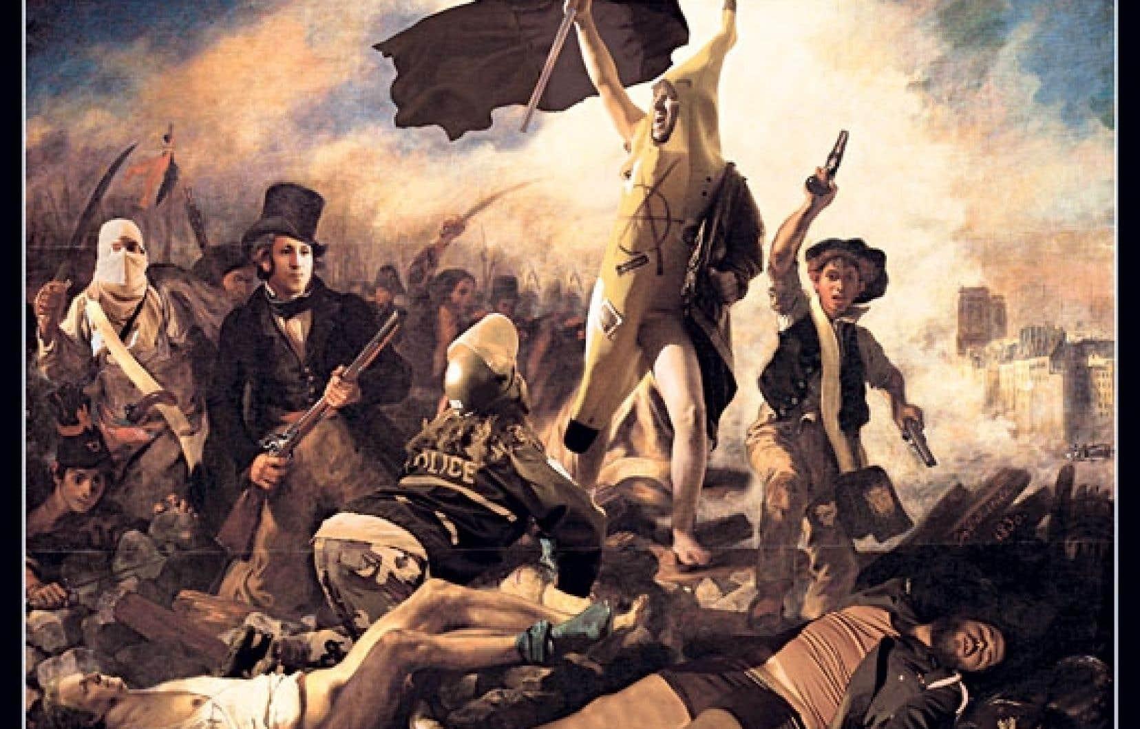 L'affiche d'une pochette d'album de Mise en demeure, parodiant en photomontage le tableau d'Eugène Delacroix La liberté guidant le peuple