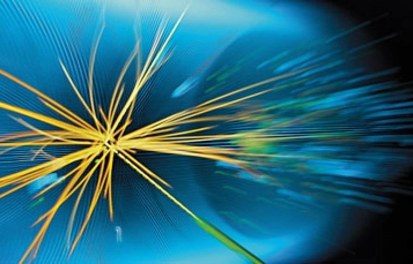 Les traces de collisions entre protons mesurées au LHC du CERN.