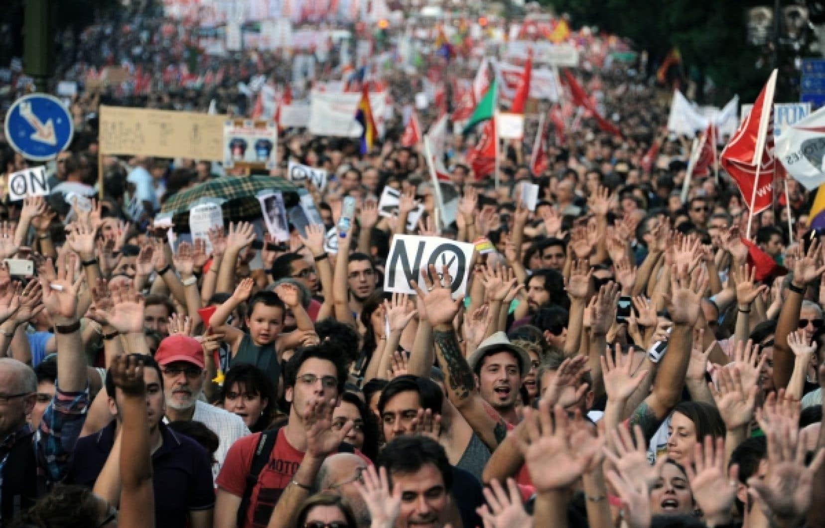 Lors de la grande manifestation de jeudi à Madrid.