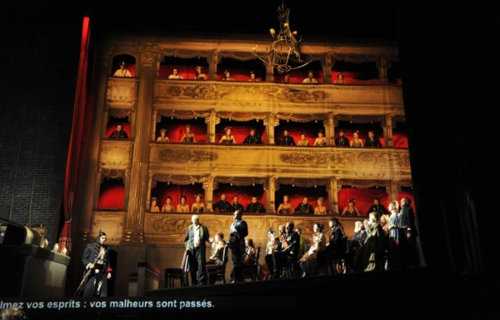 Le dernier tableau de La tempête : une coupe de la salle de la Scala de Milan que nous voyons de profil, comme une « tranche de vies » au sein de laquelle chacun occupe la place qui lui revient.