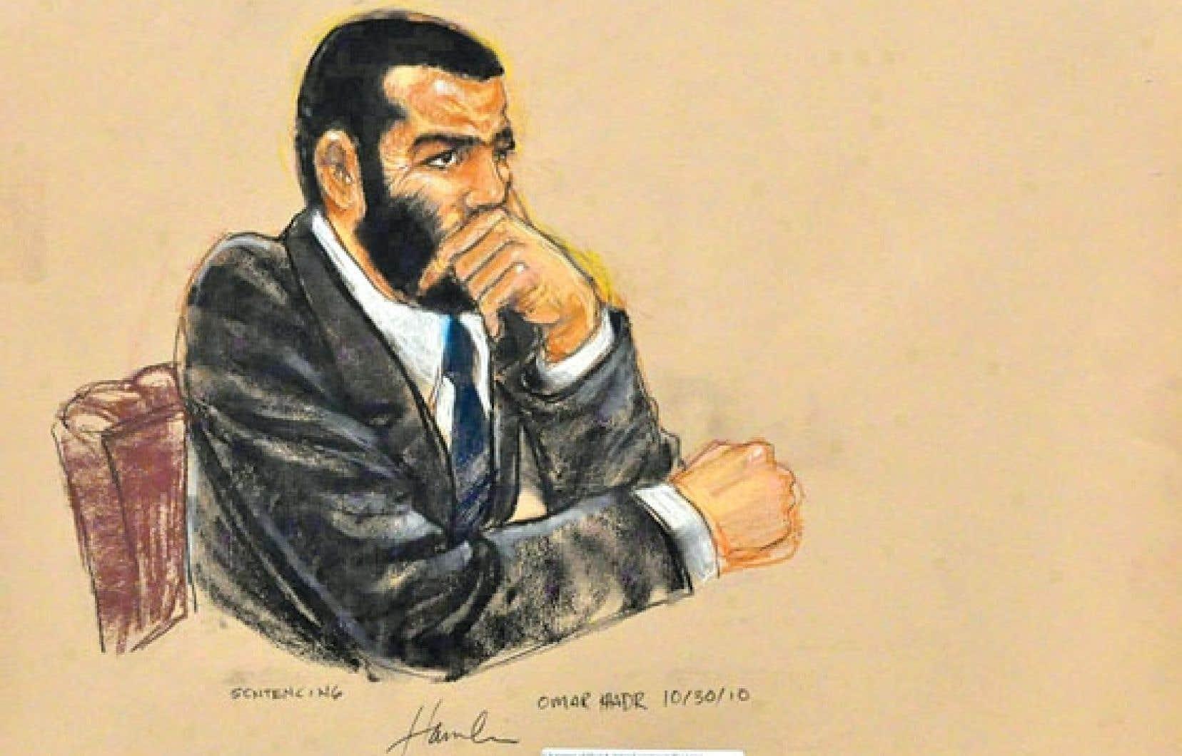 Omar Khadr lors de son procès, en octobre 2010