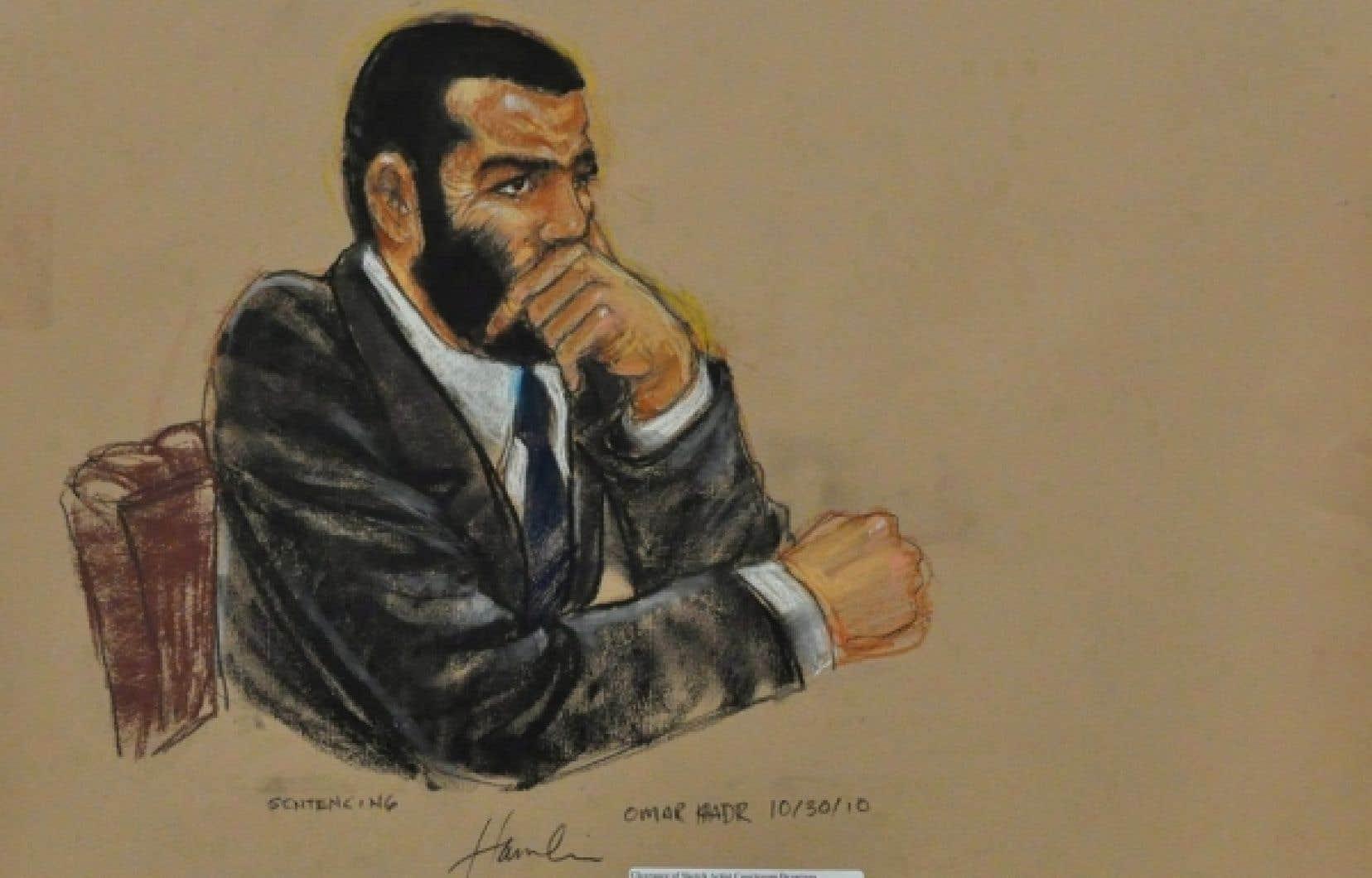 Dessin d'Omar Khadr en octobre 2010. Le jeune Torontois de 26 ans a été transféré à la prison à sécurité maximum de Millhaven, à Bath, en Ontario, où il purgera le reste de sa peine d'emprisonnement pour crimes de guerre.