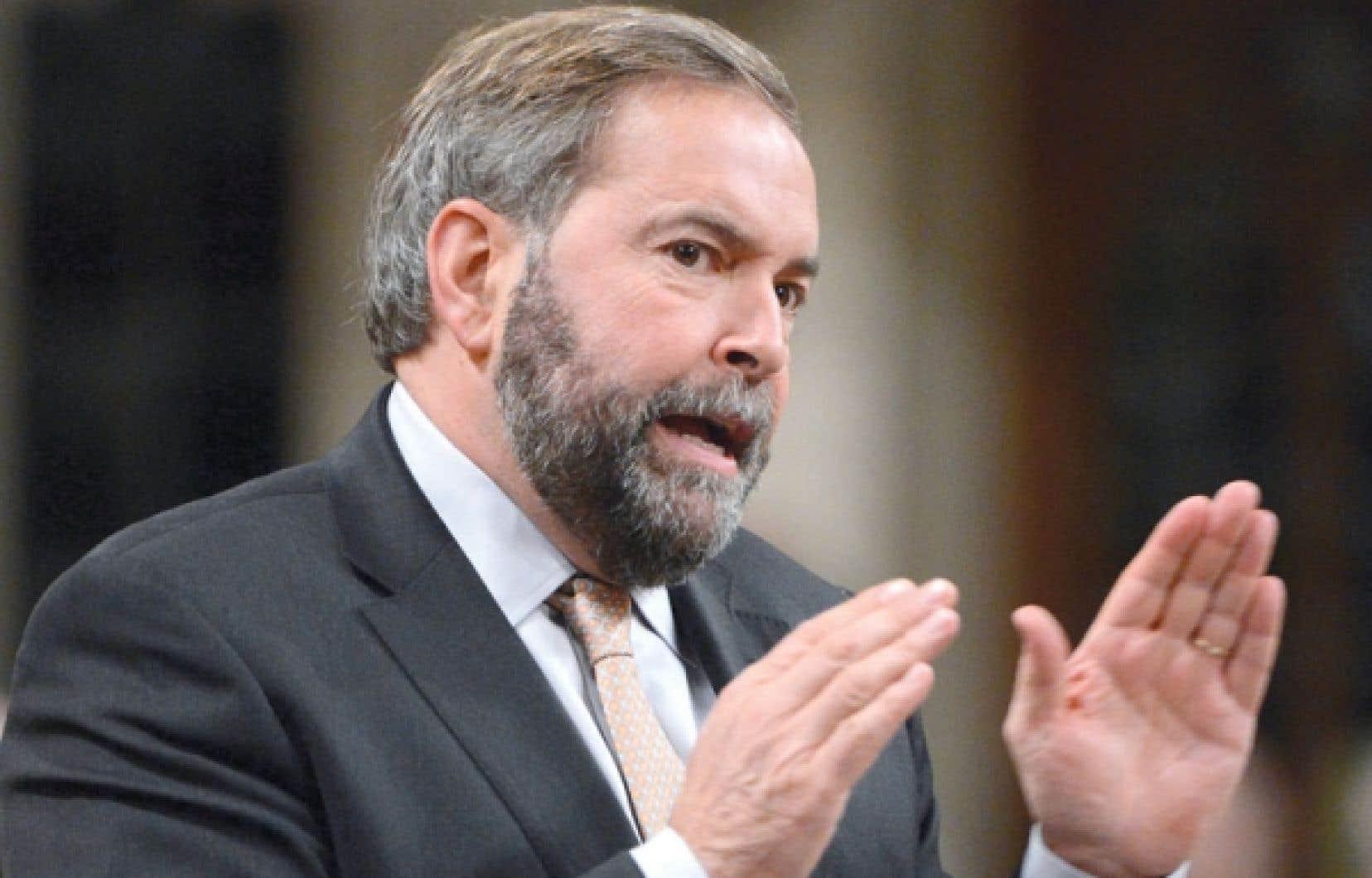 Le chef du NPD, Thomas Mulcair, a livré un discours fleuve d'une heure et quart mercredi à la Chambre des communes dans le cadre du débat du second projet de loi budgétaire.