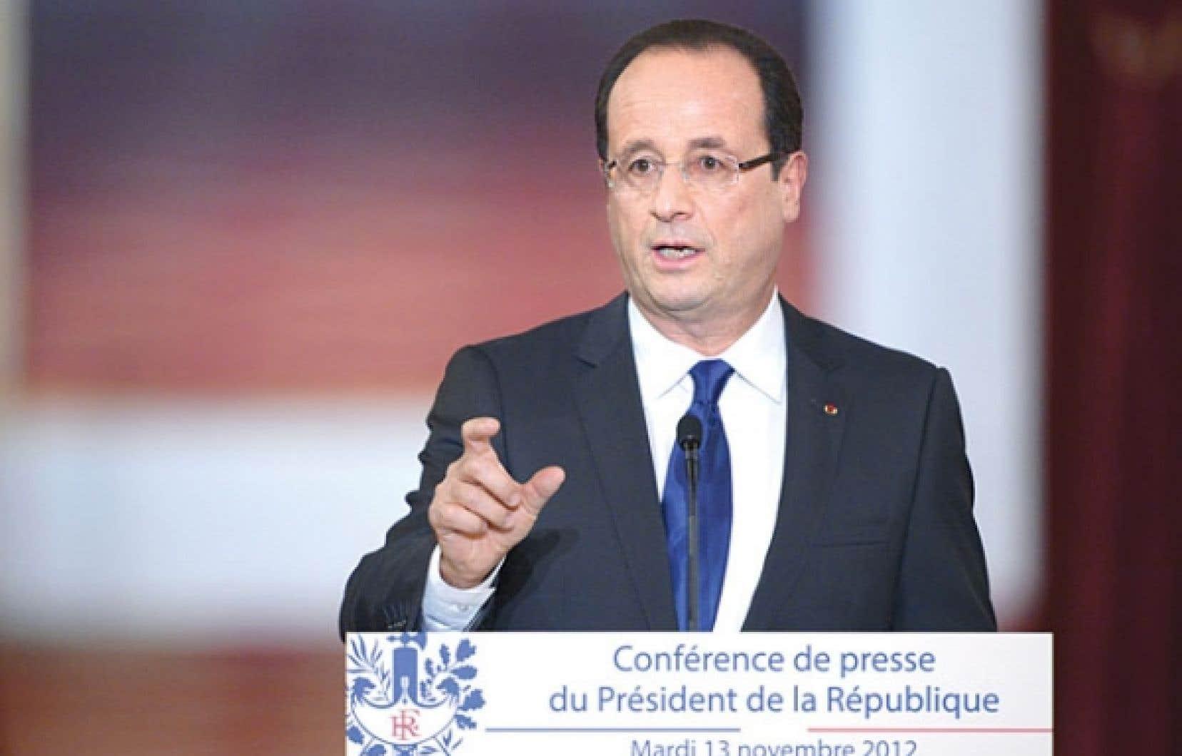 <div> François Hollande mardi, lors de sa conférence de presse</div>