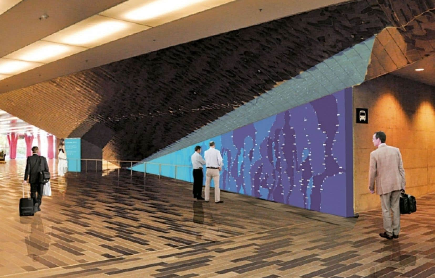 La Constellation est une murale bleue au travers de laquelle perceront 122 points lumineux. Chacune de ces étoiles représente un Grand Montréalais.
