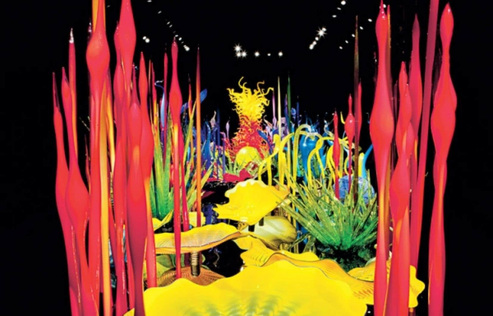<div> Mille Fiori (d&eacute;tail), de Dale Chihuly, (Chihuly Garden and Glass, Seattle, Washington, 2012,&nbsp;58 x 20 pieds)</div>