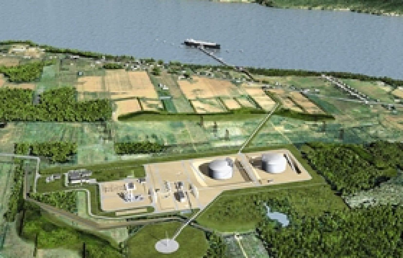 Cette modélisation du projet Rabaska, qu'on trouve sur le site du promoteur, montre comment les réservoirs et le quai destiné aux méthaniers modifient ce milieu agricole, devant l'île d'Orléans, en haut de la photo. On aperçoit aussi la faib