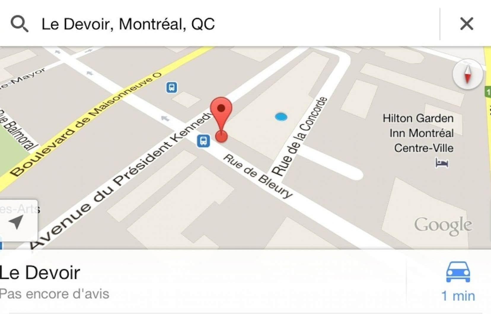 Le Devoir, tel que vu sur l'application Google Maps.<br />