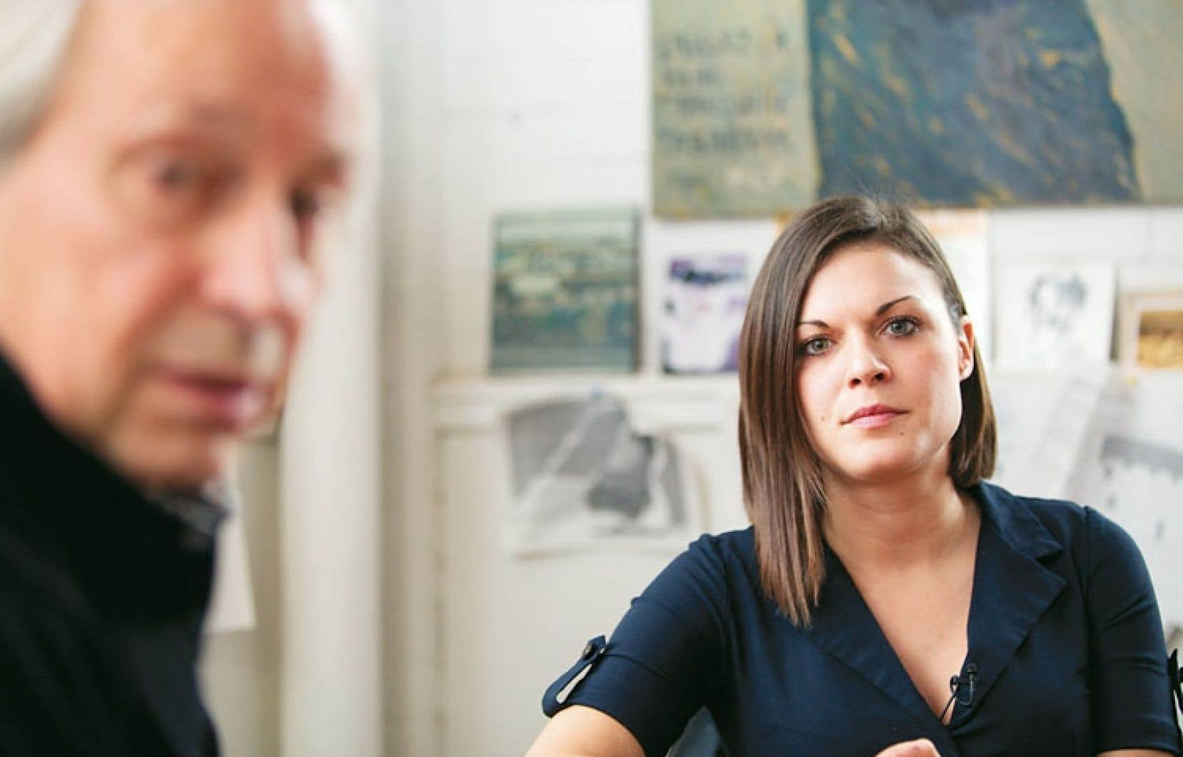 Le cinéaste Jean-Claude Lord et Émilie Laliberté, la directrice générale de l'organisme Stella, qui milite pour la défense des droits des travailleuses du sexe.