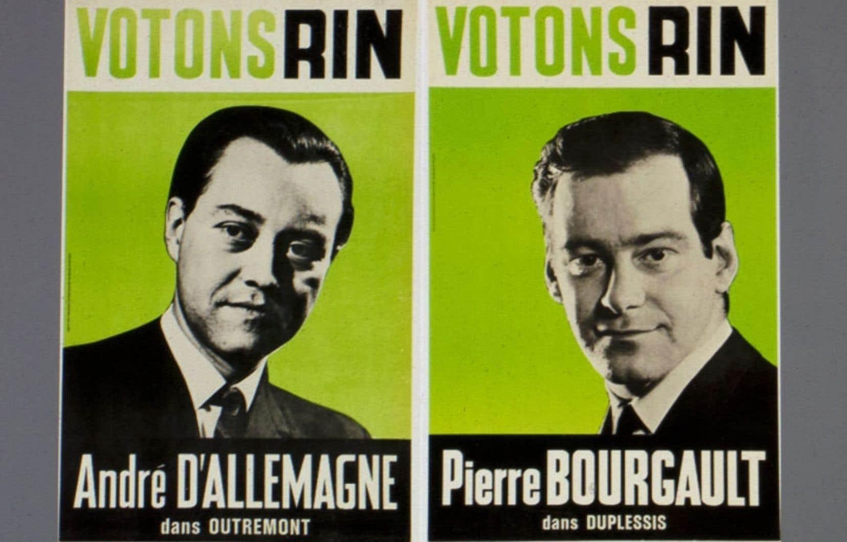 Les affiches des candidats du Rassemblement pour l'indépendance nationale (RIN), André D'Allemagne et Pierre Bourgault, lors de l'élection provinciale de 1966. L'esthétisme même du matériel publicitaire du RIN témoigne d'un nouveau type d'engagement en politique.