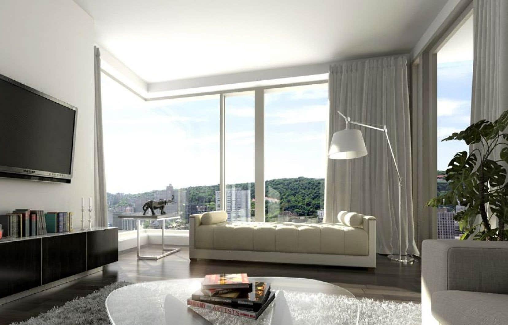 L'aménagement de l'espace dans les logements a été fait avec grand soin. La fenestration dans les condos sera pleine hauteur et les plafonds auront 9, 10 ou 12 pieds de haut.