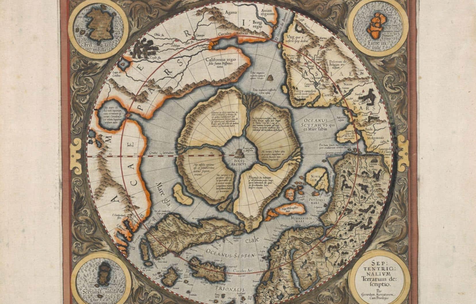 La carte Septentrionalium Terrarum descriptio (1595) de Gérard Mercator illustrant le pôle Nord, représenté par un rocher entouré d'eau, puis une surface en dur qui devait figurer non pas une terre ferme, mais une immense plaque de glaces flottantes, et enfin deux grands espaces d'eau libre en forme de croissant, qui expriment probablement la possibilité ou même l'espoir d'un passage du Nord-Ouest et d'un passage du Nord-Est.