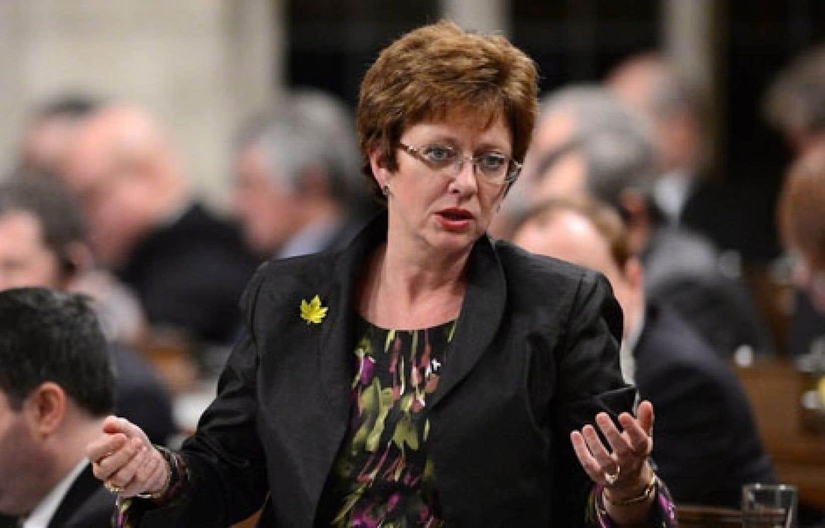 La ministre des Ressources humaines, Diane Finley. La réforme de l'assurance-emploi entrée en vigueur en janvier impose aux prestataires de nouvelles exigences en matière de recherche d'emploi.