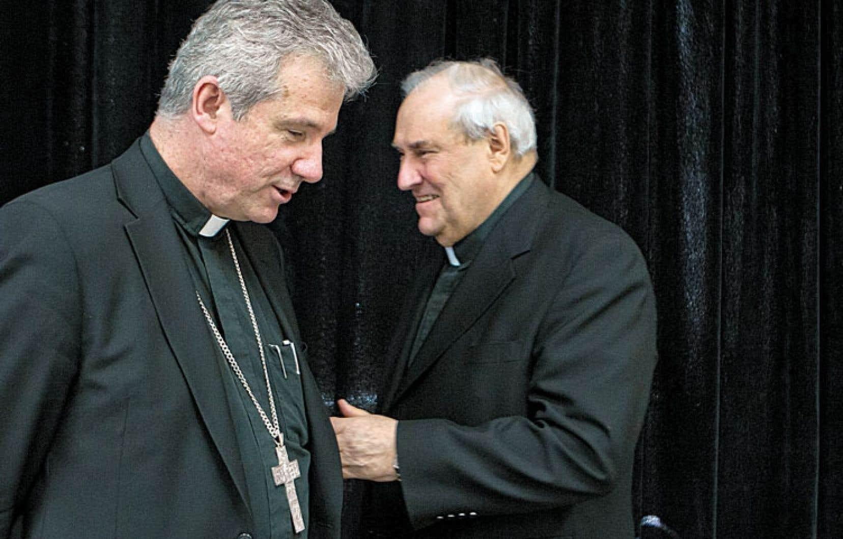 Monseigneur Christian Lépine, en compagnie de son prédécesseur, le cardinal Jean-Claude Turcotte