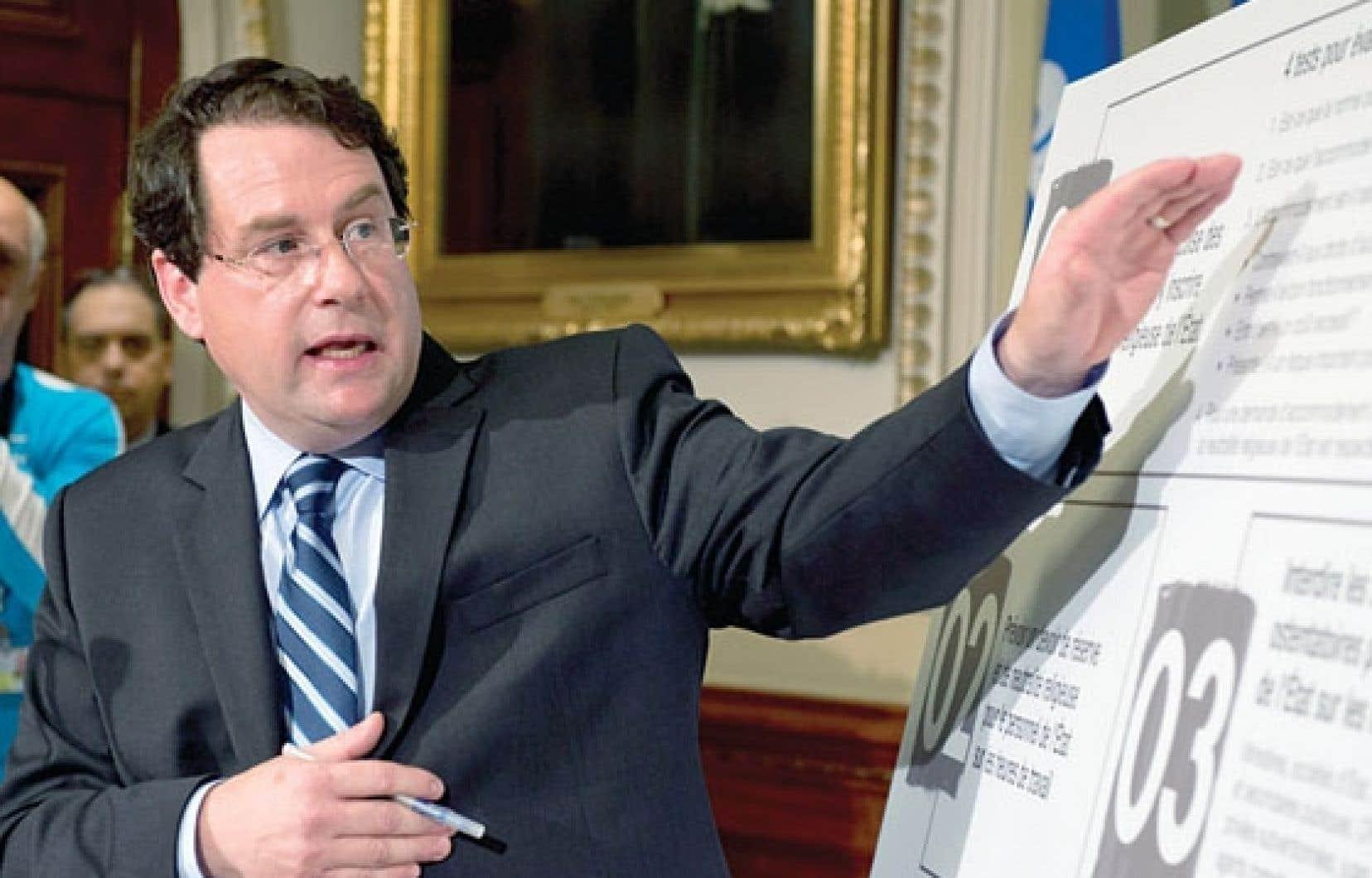 Bernard Drainville résume les cinq propositions contenues dans le projet de Charte des valeurs québécoises du gouvernement.